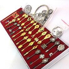 Hot 29 sztuk/zestaw Fairy Tail Lucy Cosplay klucz brelok skala i bezpłatny różowy tatuaż Heartfilia znak zodiaku złoty klucz wisiorki