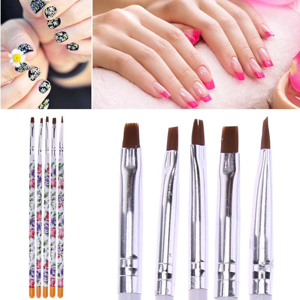 5pcsset Flat Painting Drawing Pen Nail Art Brushes Acrylic Brush