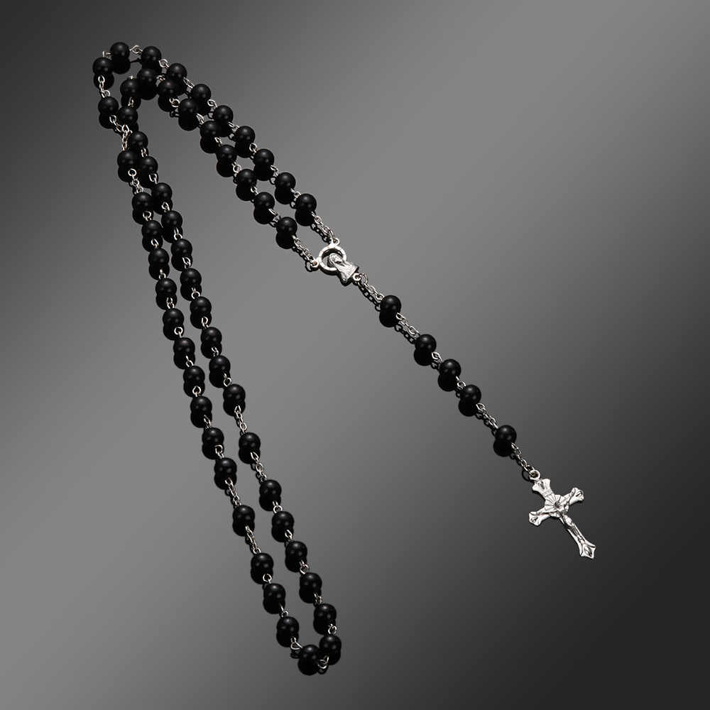 2018 New Fashion Handmade Round Glass Bead Catholic Rosary Quality Bead Cross Necklace Beads Cross Religious Pendants Necklace