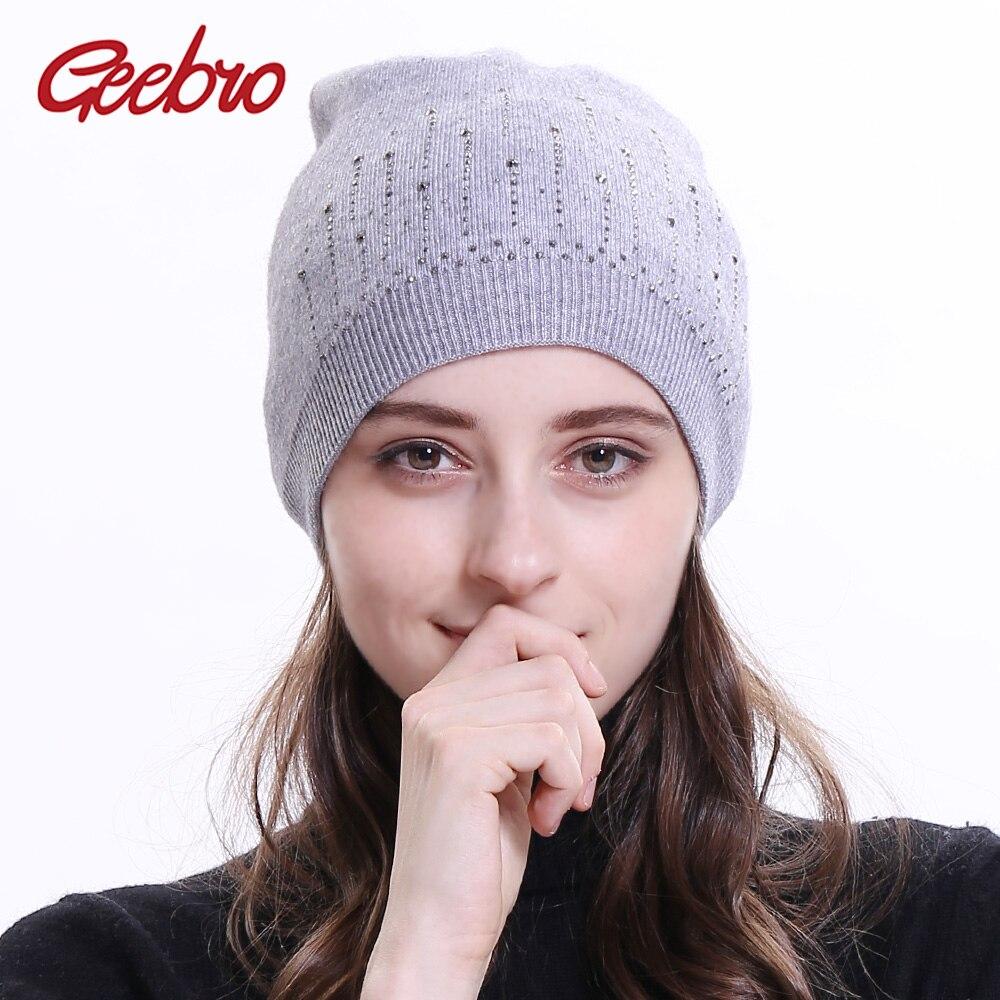 ab52d56b151 Geebro Women s Cashmere Rhinestones Beanie Hat Winter Casual Knitted  Slouchy Beanies for Women Female Black Skullies Cap Bonnet