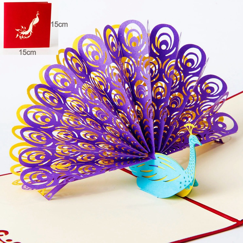 2017 3pcs/lot 3D Pop Up Greeting Card Peacock Birthday Easter Anniversary Mothers Day Thanks thank you card house party pop up greeting card house warming invite pop up birthday card 3d birthday