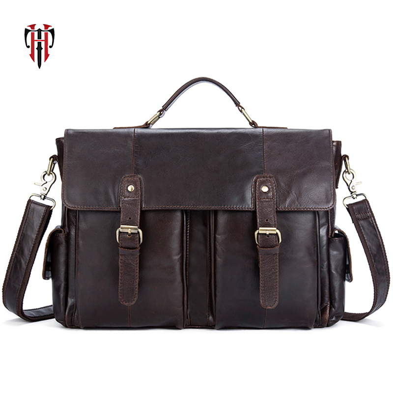 TIANHOO Fashion Retro Briefcase Man Genuine Leather Bag 14 Inch Laptop Bag Soft Fashion Men Shoulder & Handlebag