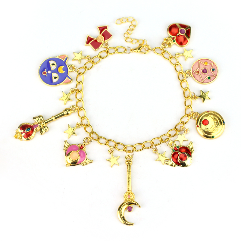 drop shipping 1pcs a lot sailor moon charm bracelet golden cute bracelet bangle christmas gift. Black Bedroom Furniture Sets. Home Design Ideas