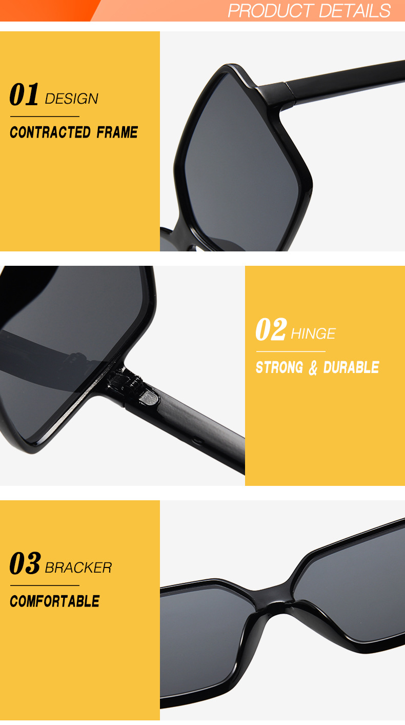 EMOSNIA K32547 Black Oversized Square Sunglasses UV400
