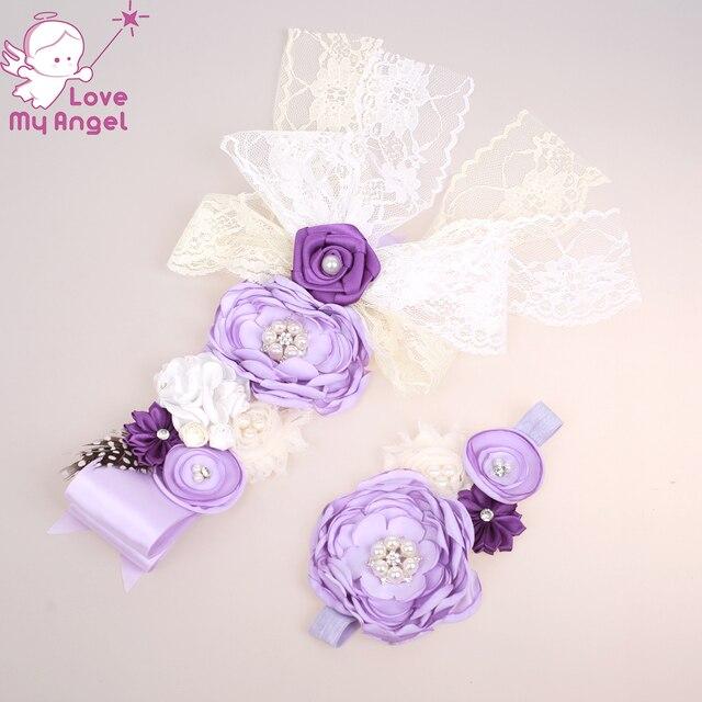 bbc362e1454 Lilas violet ivoire fleur fille sash et bandeau de mariage floral ceinture  maman de maternité bébé