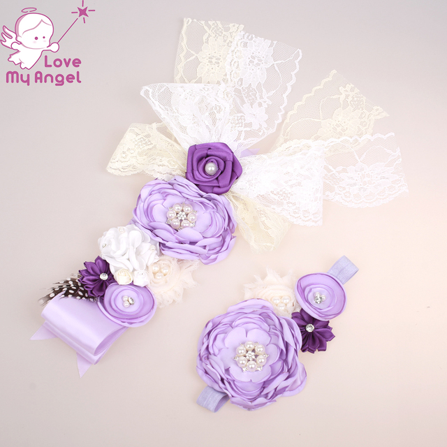 lilac purple ivory flower girl sash and headband wedding floral belt mom  maternity baby shower sash Newborn photography 8set lot 06bd26d52173