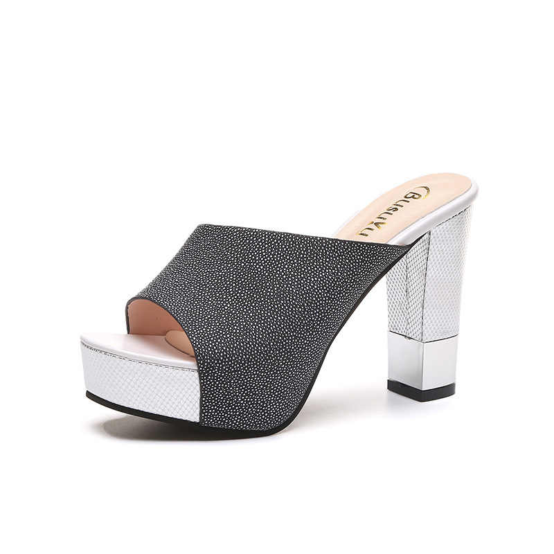 8c8d0ca43d2d ... 2019 Fashion Peep Toe Chunky Thick Heel Flock Mules Slippers Women's  Summer Casual Comfortable Sexy Style