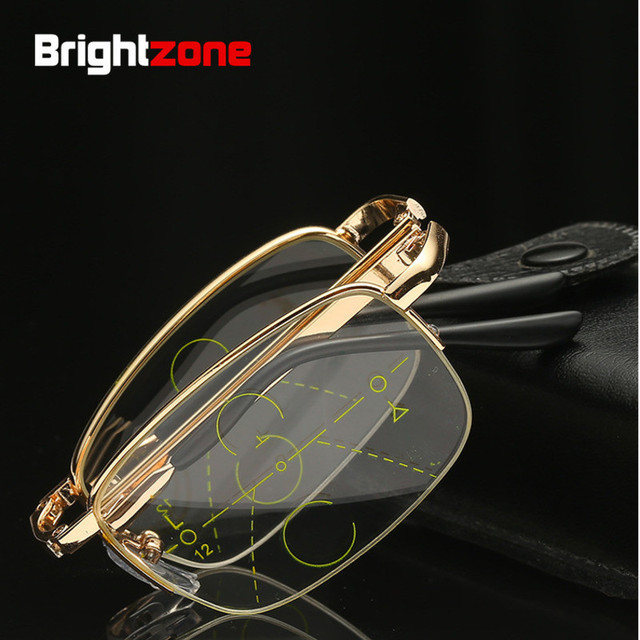 Brightzone Easy-Carry Folding Presbyopic Portable Pocket Metal Magnifier Progressive Multifocal Reading Glasses Eyeglasses Gafa
