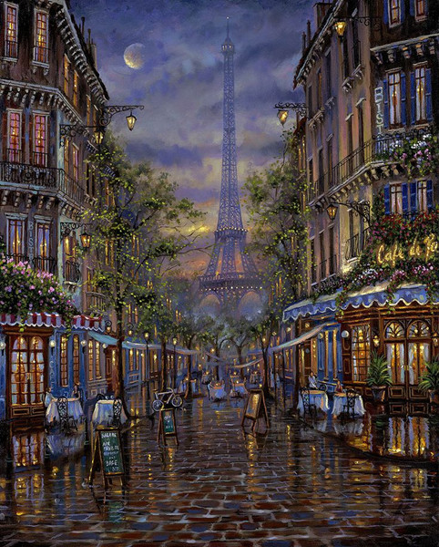 Embroidery Cross Stitch Kits Needlework Summer In Paris Tower Scenery Crafts 14CT Counted Unprinted DMC DIY Arts Handmade Decor