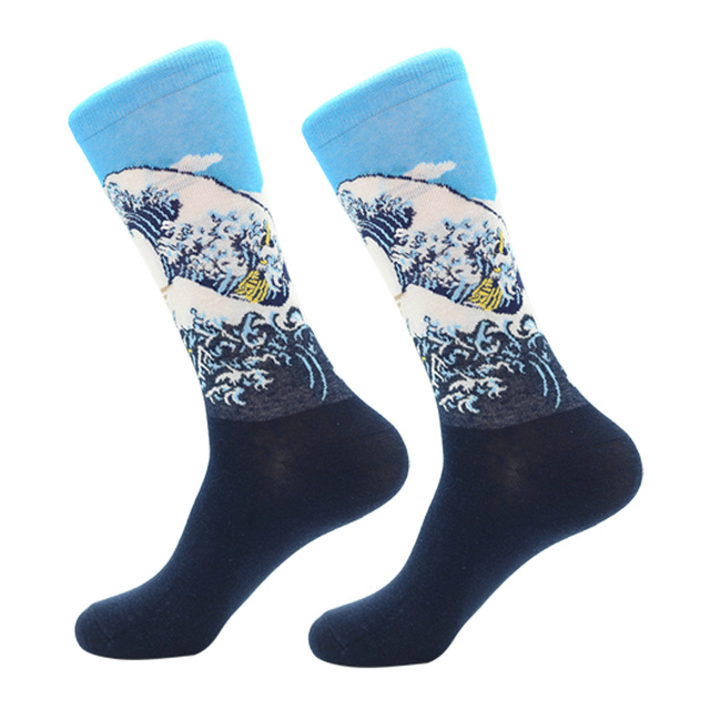 Jhouson 1 pair New Colorful Men's Combed Cotton Trendy Wedding Socks Funny Casual Crew Skateboard Socks Novelty Gifts 5