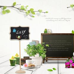 10 pçs/set Madeira Beira Floral Mini Board Chalkboard Blackboard Fique Lolly Casamento Festa Tag De Madeira Preto para a Festa de Escritório Escola