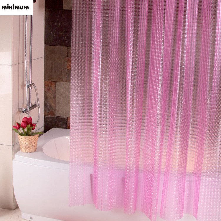 3D Crystal Thicker Shower Curtains EVA Translucent Plastic Bathroom Curtains Waterproof Pink