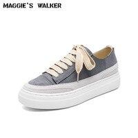 Maggie S Walker Women Fashion Suede Casual Shoes Women Platform Leather Lacing Casual Shoes Size 33