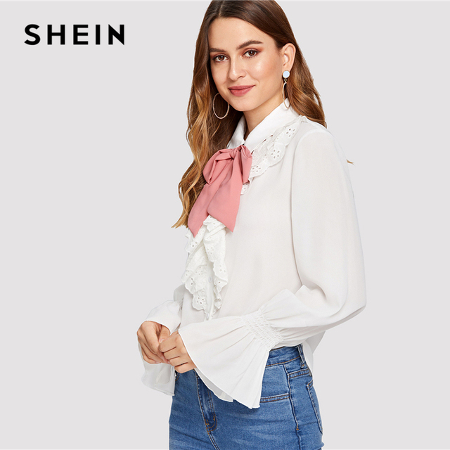 e5271b1233fd91 SHEIN White Preppy Contrast Tied Neck Eyelet Embroidery Ruffle Stand Collar  Flounce Sleeve Blouse Summer Women Casual Shirt Top
