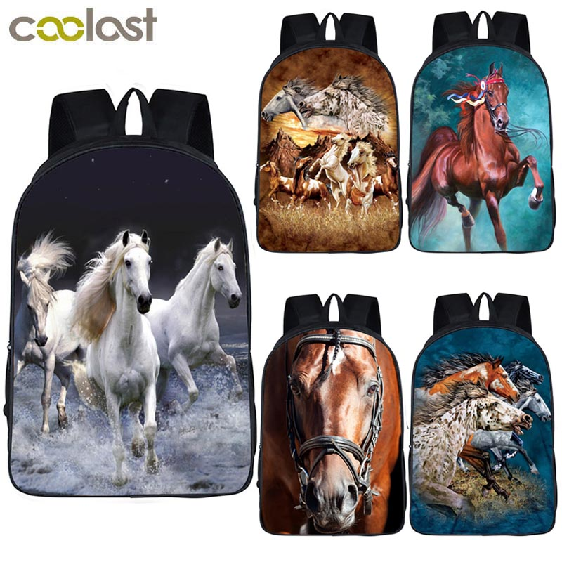 Elegant Animal Horse Print Backpack For Teenager Boys Girls Children School Bags Laptop Backpack Women Men Daypack Rucksack