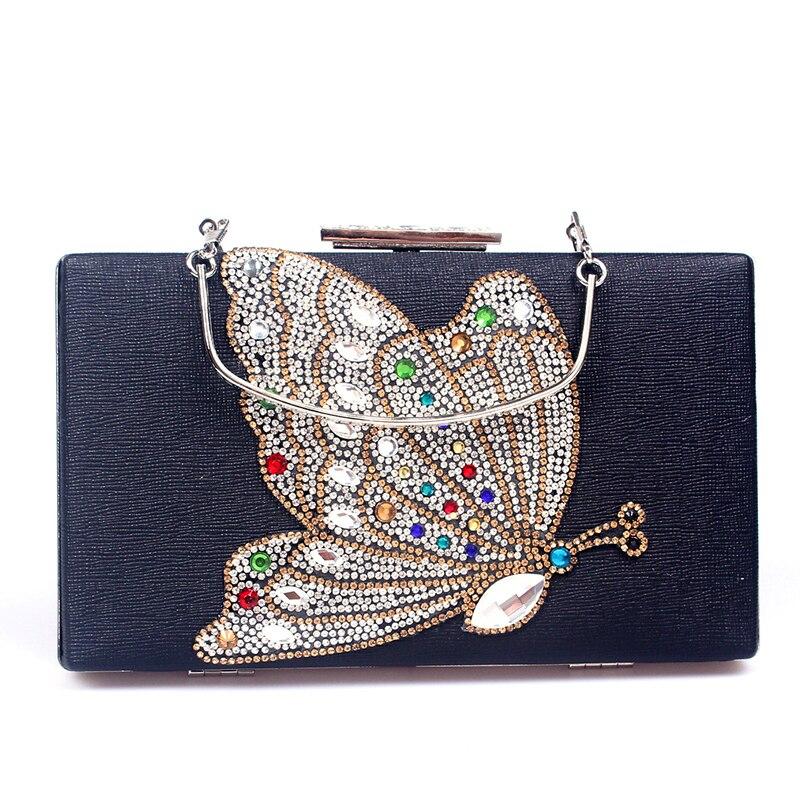 sélectionner pour véritable détaillant 2019 original € 17.62 35% de réduction|Blanc/Gloden/noir strass sacs à main de mariage  papillon cristal sac de soirée pochettes pochettes dame sac à main de ...
