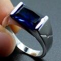 Мужская Серебряный Продолговатые Синий Создания Сапфир Камень Пасьянс Обручальное Кольцо для Мужчин
