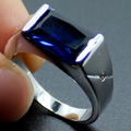 Mens Silver Oblong Blue Created Sapphire Stone Solitaire Wedding Ring for Men