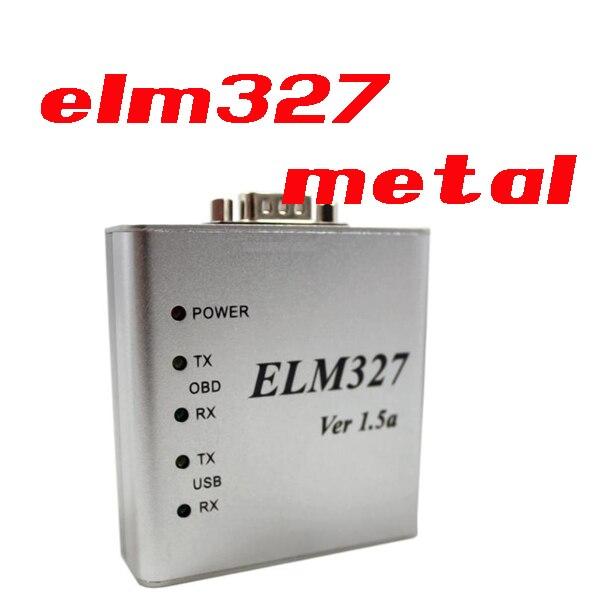 DHL/FedEx 10 шт. ELM327 металлический алюминиевый OBD2 автоматический диагностический инструмент ELM 327 USB металлический интерфейс считыватель кодов сканер V1.5/V1.5a