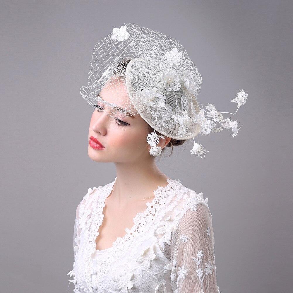 fascinator retro bridal headdress hair accessories linen gauze small