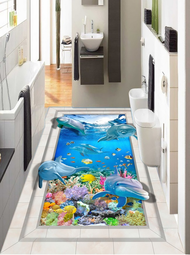Custom photo 3d flooring mural self - adhesion picture floor sticker 3 d sea dolphin floor painting 3d room murals wallpaper custom photo waterproof floor wallpaper 3 d to stick a stone path 3d mural pvc wallpaper self adhesion floor wallpaer
