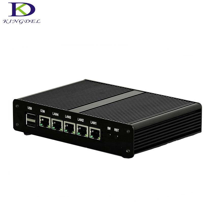 Fanless Mini PC 2GHz Quad Core Celeron J1900 4 LAN HTPC Small PC Router Server With Black Case TV Box Nettop Computer