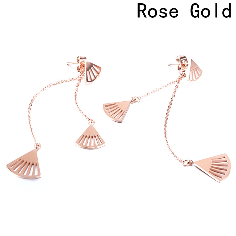 Мода ретро вентилятор кисточкой Серьги может dropshipng 2018 Новый гребешок в оболочке titanium покрытие розовым цвет золотистый серьги женский