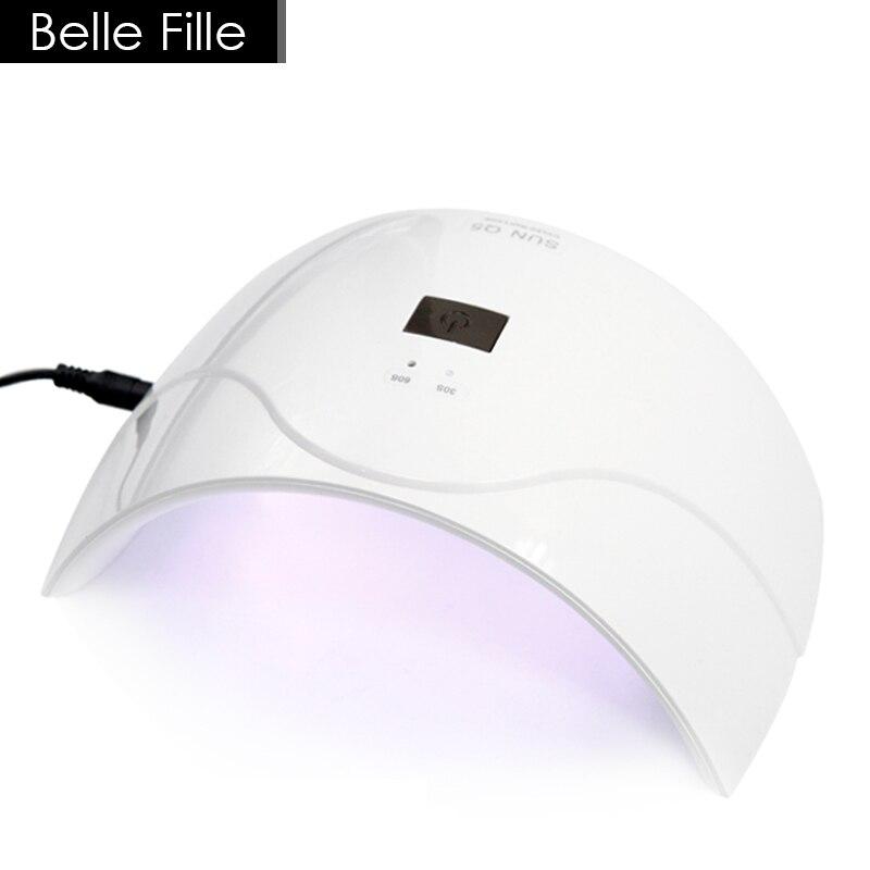 BELLE FILLE UV Lamp For Drying Nail Polish SUN5Q 24W Professional UV LED Lamp Nail Dryer Nail Gel Art Tools Drying Of Nails shanghai kuaiqin kq 5 multifunctional shoes dryer w deodorization sterilization drying warmth