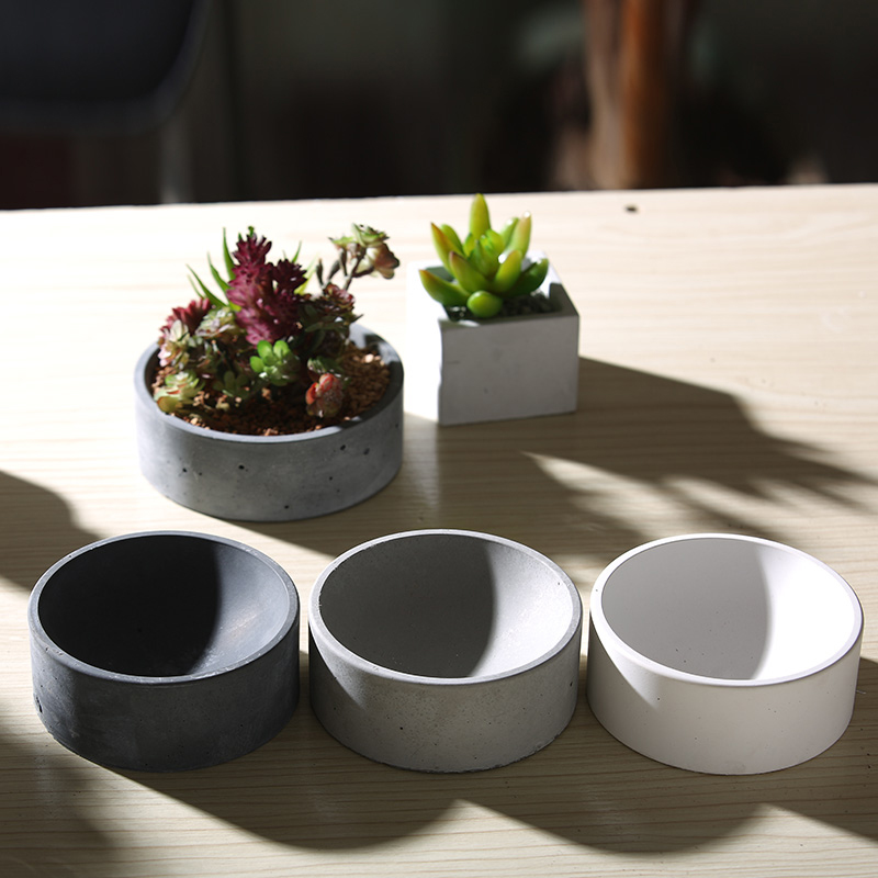 silicone mold Cement multi flower pots storage home furnishings round storage functional container molds (No water holes)