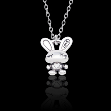 Fashion Retro LOVE Bunny Necklace for women Cute Ancient Silver Zinc Alloy Animal Lettering Pendant Jewelry Dropshipping