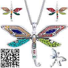 1set Bohemia Necklace Earrings for women Set Alloy Unique Beach Dragonfly Design Animal Pendant Jewelry sets Charm Accessories