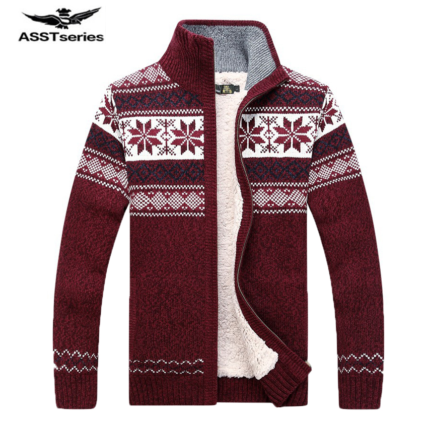 2017 Winter AFS JEEP Brand Men's Fashion Cashmere Sweater Men's Long-sleeved Stand Collar Floral Knitted Fleece Sweater 110
