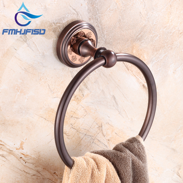 Us 33 64 42 Off Free Shipping Bathroom Towel Ring Oil Rubbed Bronze Br Material Rack Holder In Racks From Home Improvement On