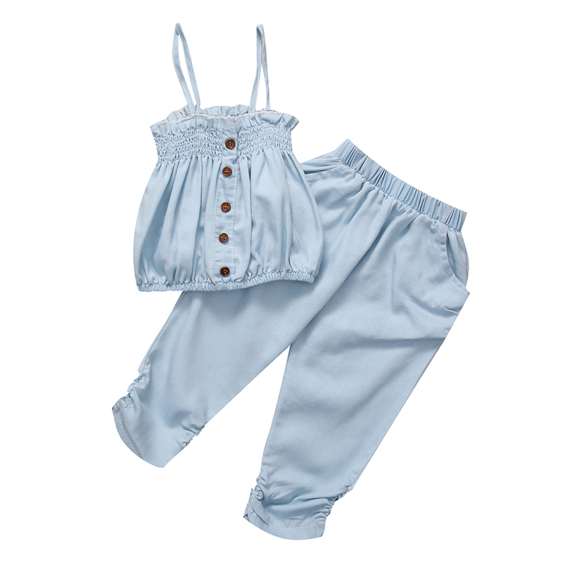 2Pcs Toddler Girls Clothing Sets Kid Summer Outfit Set Demin Sleeveless Top Girls T-shirt Long Sky Blue Cotton Pants Kid Clothes t shirt tops cotton denim pants 2pcs clothes sets newborn toddler kid infant baby boy clothes outfit set au 2016 new boys