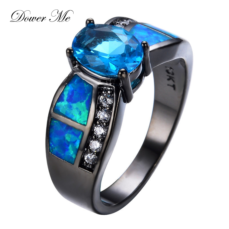 Dower Me Blue Fire Opal Rings for Women Finger Jewelry Luxury Cubic Zirconia Crystal Wedding Rings Bague Valentine's Day Gift