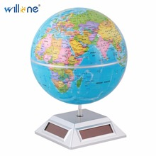 Willone 1 set free shipping Durable Rotating World Globe Map Solar Powered Room Office Table decoration for Kids Educational