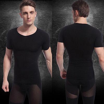 Men's Slimming Body Shaper Belly Fatty Underwear Vest T-Shirts Corset Compression