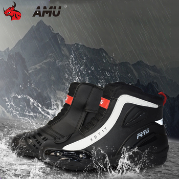 AMU Motorcycle Boots Waterproof Moto Motocross Boots Men Moto Riding Boots Shoes Motorcycle Protection Men Botas Moto Black arcx motorcycle boots men waterproof botas moto genuine cow leather moto boots motocross boots motorcycle racing mid calf shoes