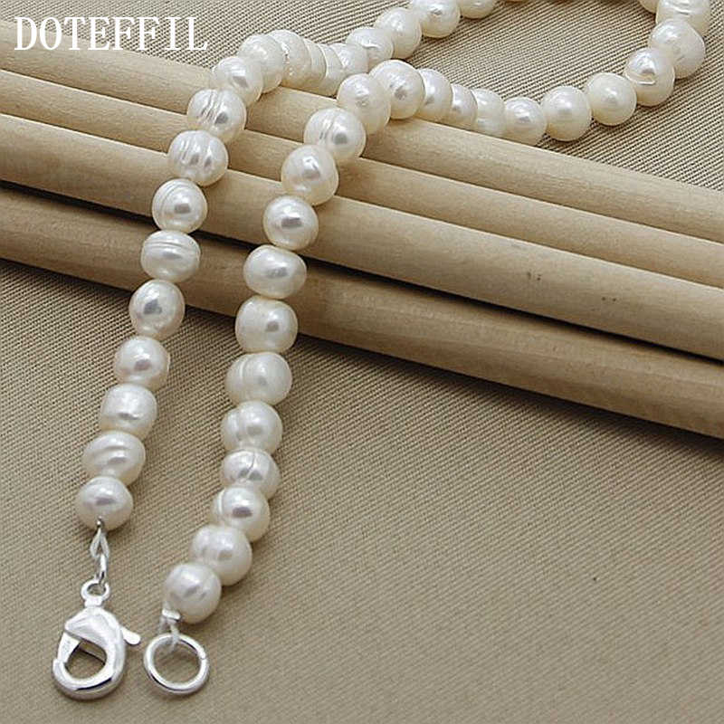 Real Freshwater Natural Pearl Necklace Casual 8mm New Pearl 925 Silver Color Necklace 18 Inches Cultured Genuine Pearl Choker