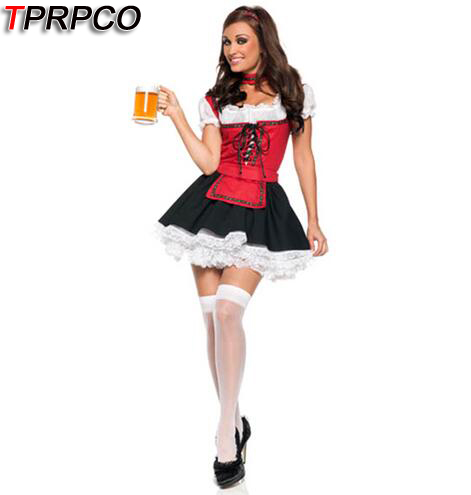 TPRPCO Fantasias Women Bavarian Costume Green Oktoberfest Gothic Lolita Dress German Beer Girl For Halloween Costumes  NL161