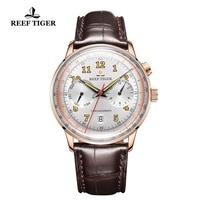 Reef Tiger/RT Элитный бренд Винтаж часы для мужчин розовое золото коричневый кожаный ремешок световой автоматические деловые RGA9122