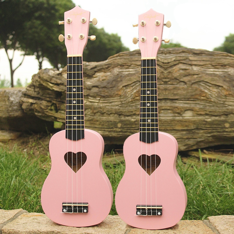 Mcool Soprano Ukulele Pink 21 Inch 4 Strings Ukelele Cheap Hawaii Mini Guitar Heart-Shaped Tone Hole Basswood Wood