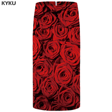 KYKU Rose Skirts Women Red Flower Party Skirt Pencil Beautiful 3d Print Sundresses Cool Sexy Ladies Womens Casual New