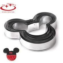 Juego de 5 unidades de molde de cocina para hornear pasteles de Mickey, herramientas para hornear, cortador de galletas y galletas de Mickey y sellos de galletas