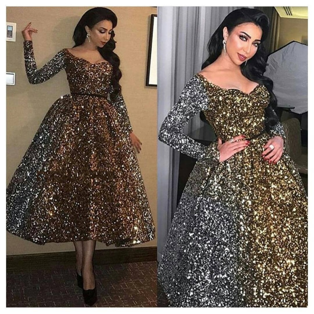 Sexy Elegant Women Formal Gala Party Dress Plus Size Arabic Muslim Gold Long Sleeve Short Evening Prom Dresses Gown 2019