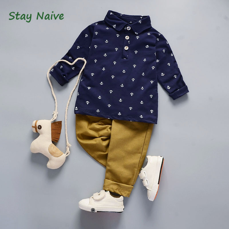 StayNaive1T-5T kids clothes Long Sleeve Autumn boys clothes two piece 2018 autumn boys clothing set shirt+trousers costumes for