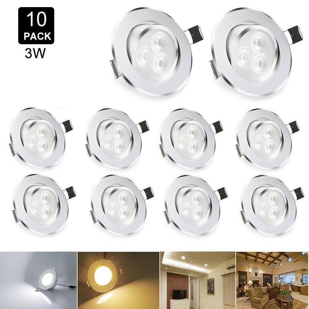 10 adet/grup 3W LED Downlight Spot gömme tavan lambaları kısılabilir kolye Spot ışık Led lamba soğuk beyaz/sıcak beyaz 110 V/220 V