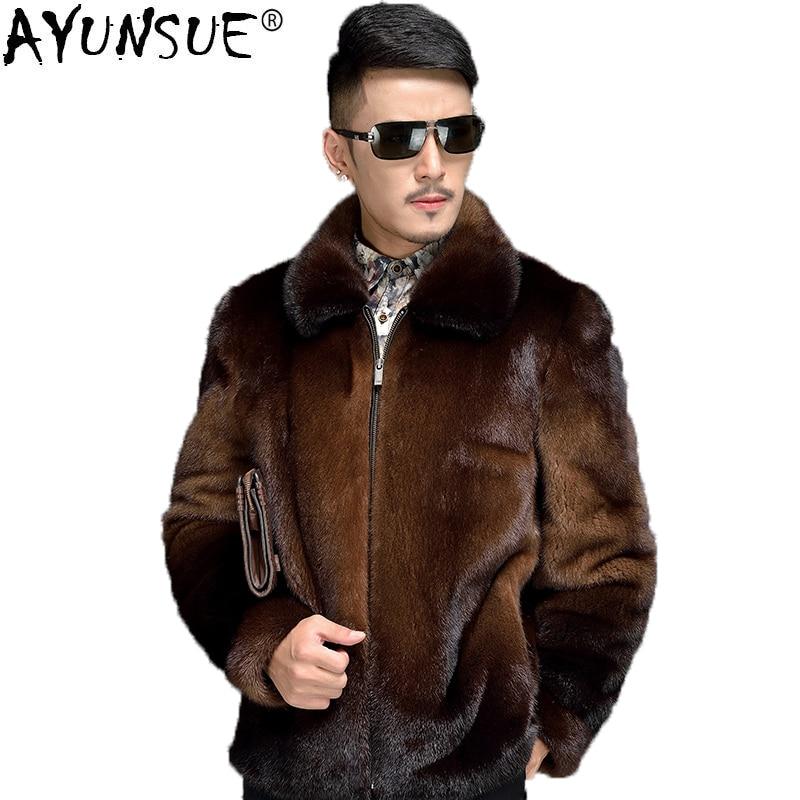 AYUNSUE Mens Mink Coat Real Fur Men Warm Winter Jacket Brown Natural Fur Coats and Jackets Short Luxury Overcoat Man 6906 KJ1405