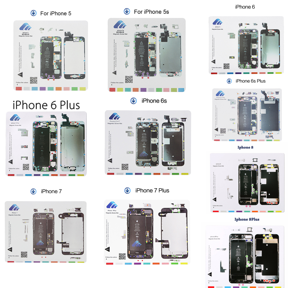 10 en 1 Set tapis à vis magnétique pour iPhone 5,5 s, 6,6 Plus, 6 s, 6 s Plus, 7,7 Plus 8,8 Plus Guide professionnel outils de réparation de téléphone portable