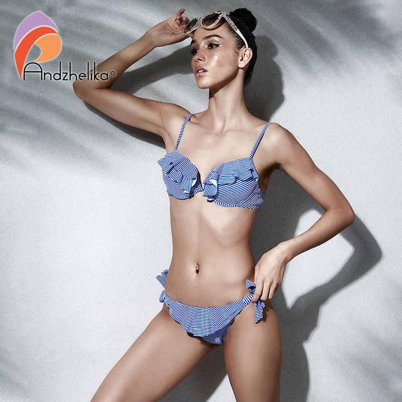 Andzhelika Bikini 2018 nowy kobiety lato Sexy paski wzburzyć strój kąpielowy Push Up stroje kąpielowe brazylijskie Bikini Set Sport strój kąpielowy